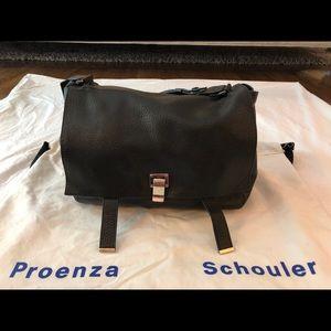 Proenza Schouler Large PS Courier Pebbled Black Le